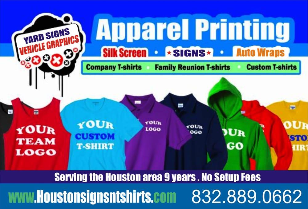 Screen printing t shirts custom t shirts signs yard for T shirt printing in houston tx