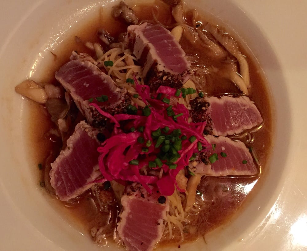 Rare peppered ahi with angel hair pasta was delish yelp for Flying fish grill
