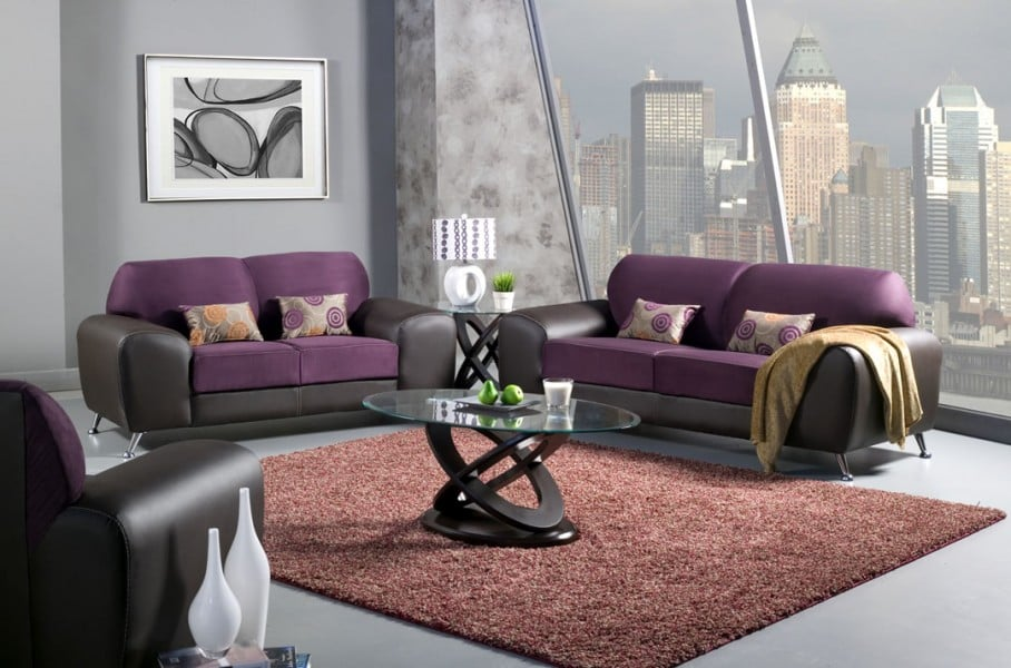 Avdira Contemporary Purple Espresso Living Room Collection Yelp