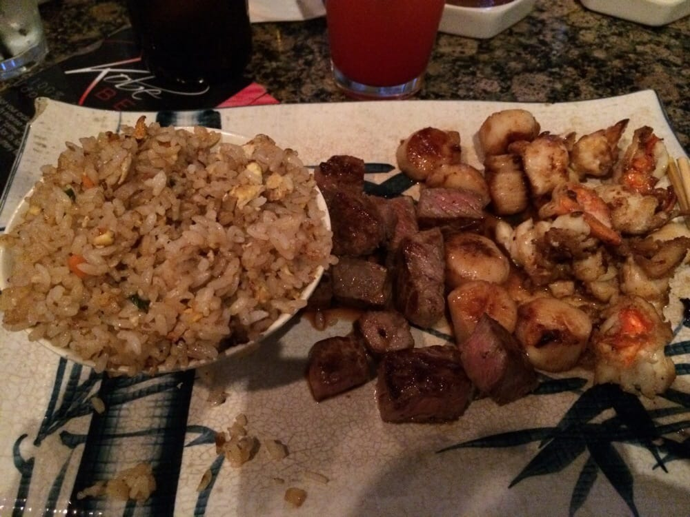 Photo of Kobe Japanese Steakhouse & Lounge - Seal Beach, CA, United States. fried rice, steak, lobster and scallops!