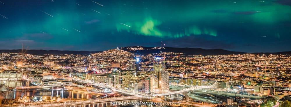 Bilde av Fotograf Gunnar Kopperud - Moss, Norge. Nordlys over Oslo