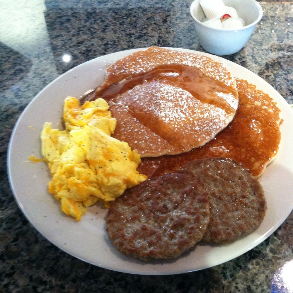 American Pancakes: scrambled eggs with cheese and sausage ...