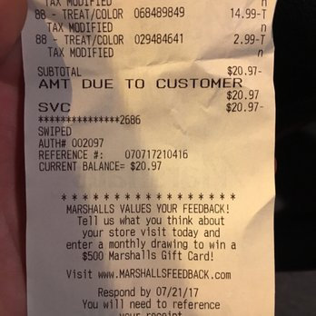 Marshalls Reviews Department Stores Mystic Valley Pkwy - Free sample invoice template marshalls online store