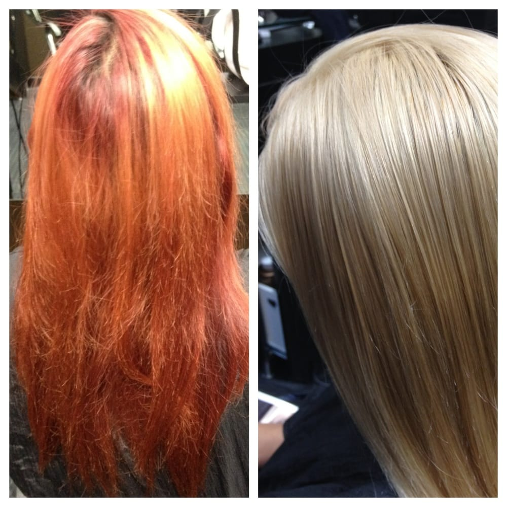 Before And After Red Hair To Blonde Color Correction By