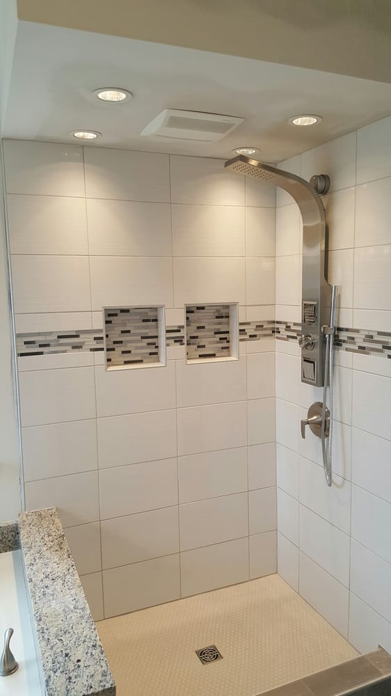 Bathroom remodel with jacuzzi shower, glass accent tile, and new ...