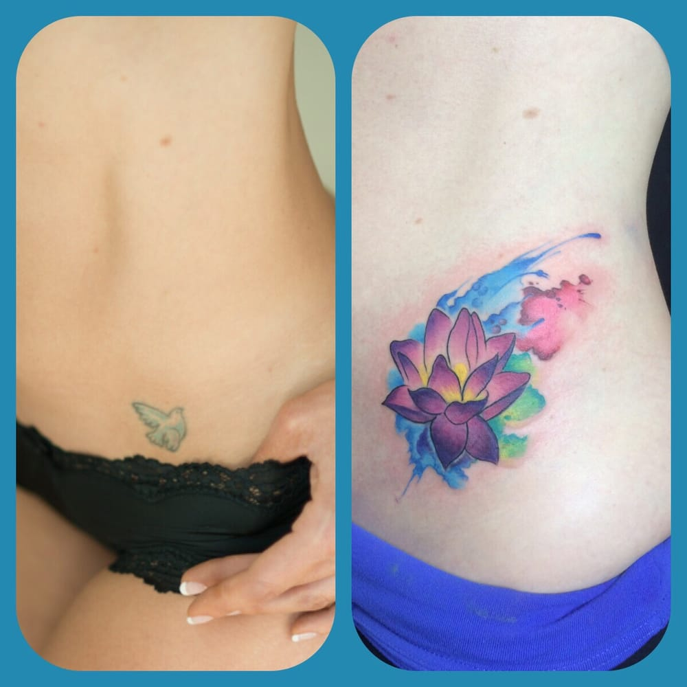 Dove Tattoo From 2003 Covered With A Watercolor Lotus Flower Love
