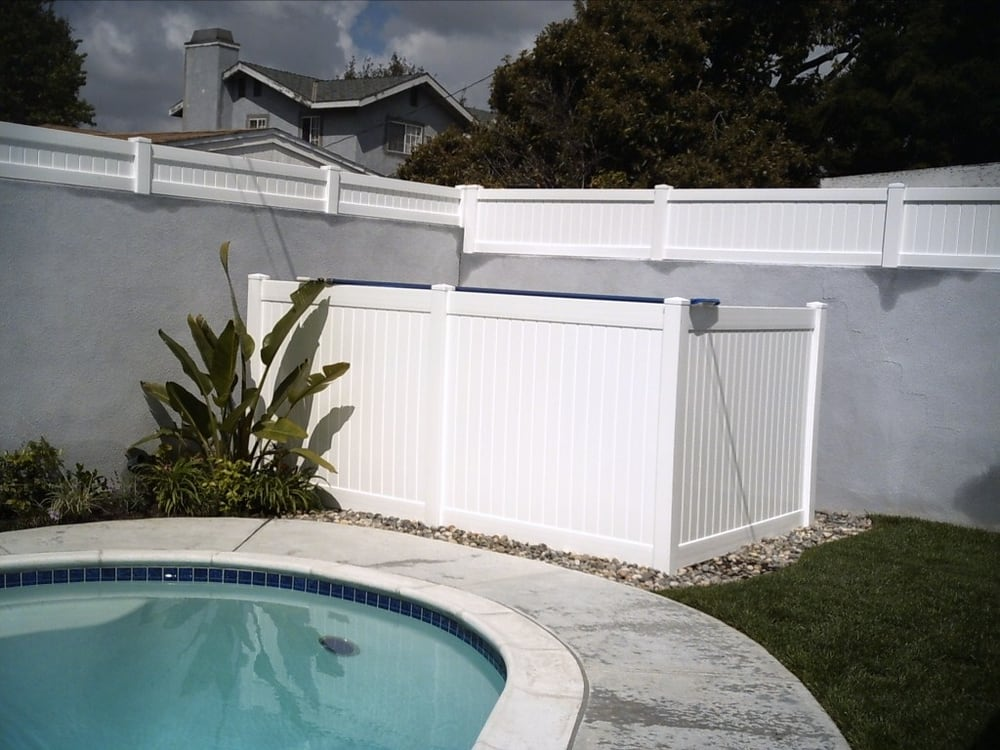 White Vinyl Privacy Fence Pool Enclosure Yelp