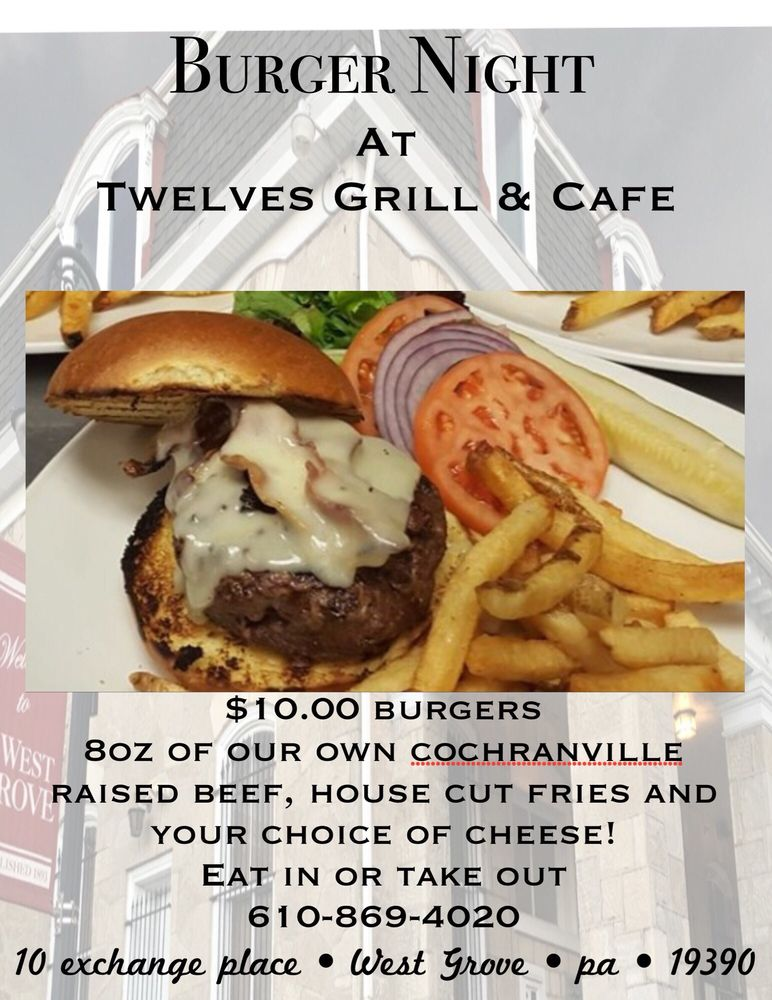 Twelves Grill & Cafe: 10 Exchange Pl, West Grove, PA