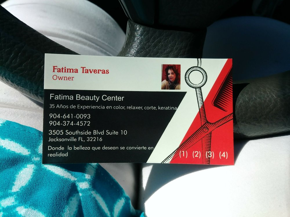 A business card i picked up on my way out yelp photo of fatima beauty center jacksonville fl united states a business card reheart Choice Image