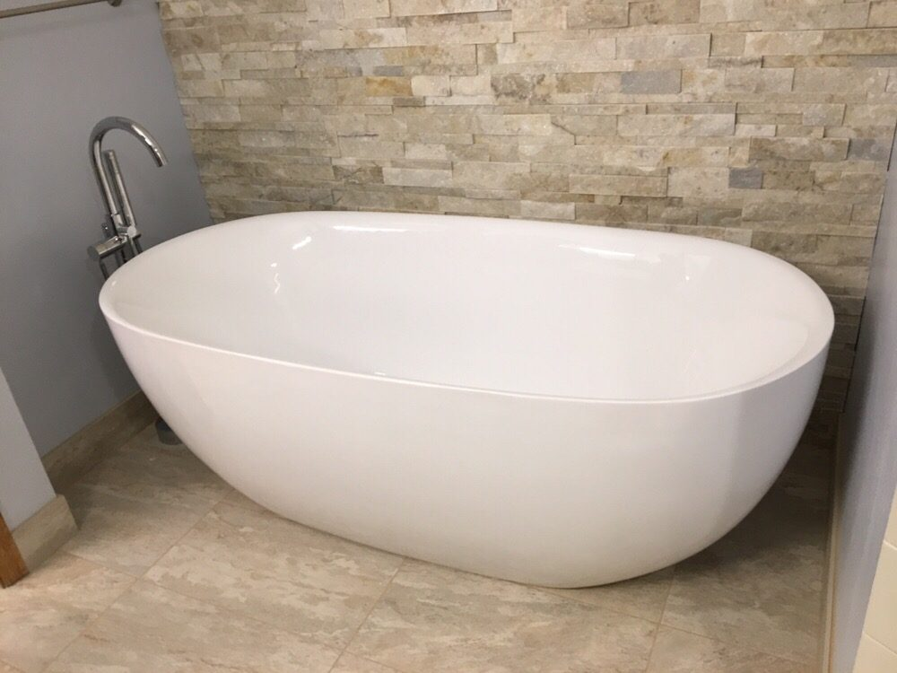 Installation of New free standing tub, floor mounted tub filler ...