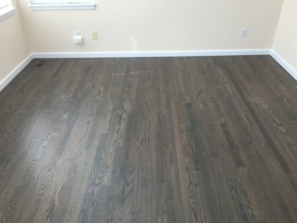 1078 sqft new 2 1 4 red oak install sand custom stain for Hardwood flooring company