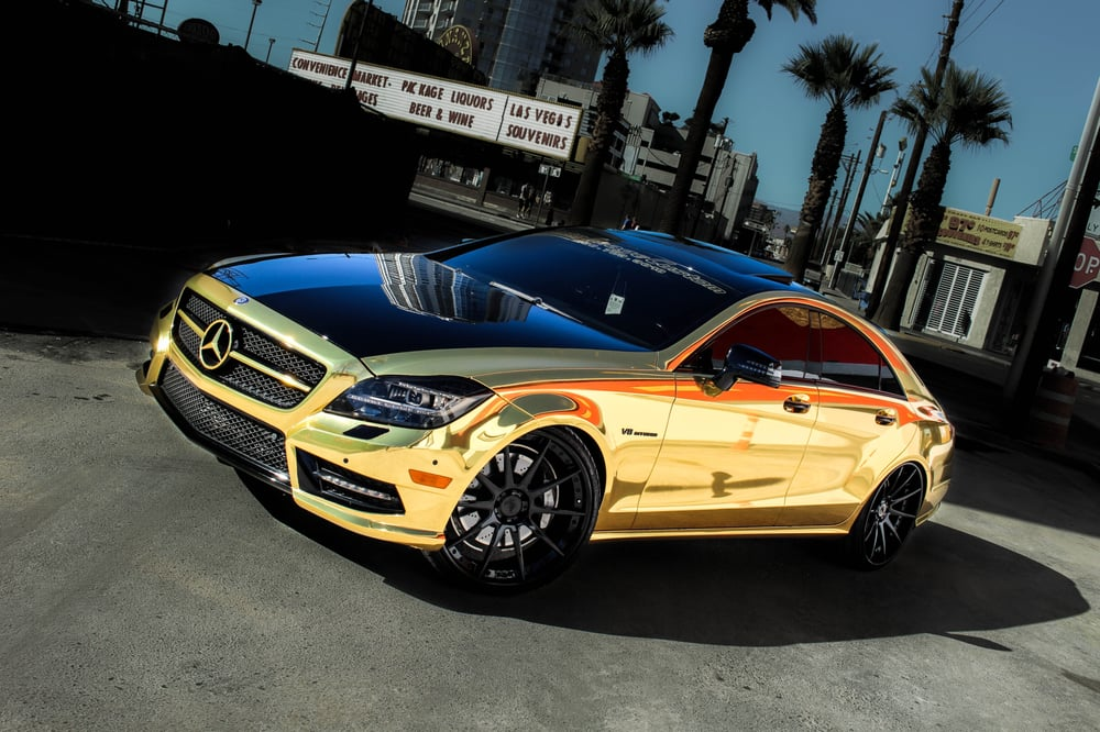 2014 cls550 in complete gold chrome vinyl wrap on 22 On places to get car painted near me