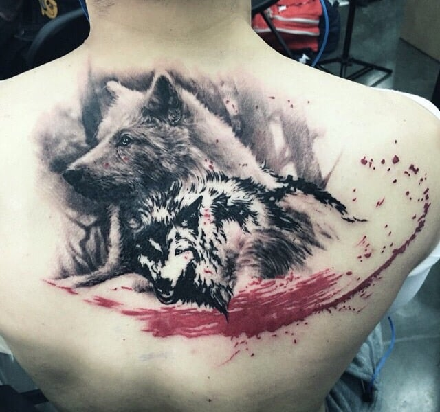 Take of two wolves by fallen sparrow owner legion avegno for Fallen sparrow tattoo