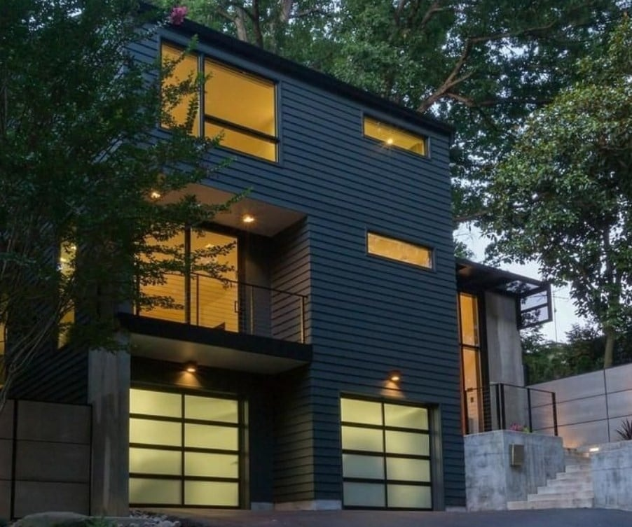 Modern Black Aluminum And Glass Garage Doors In Nw