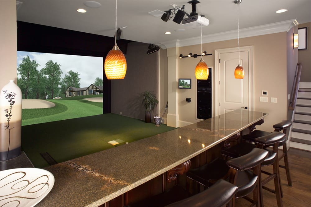 Single Screen Golf Simulator Room With Bar Yelp