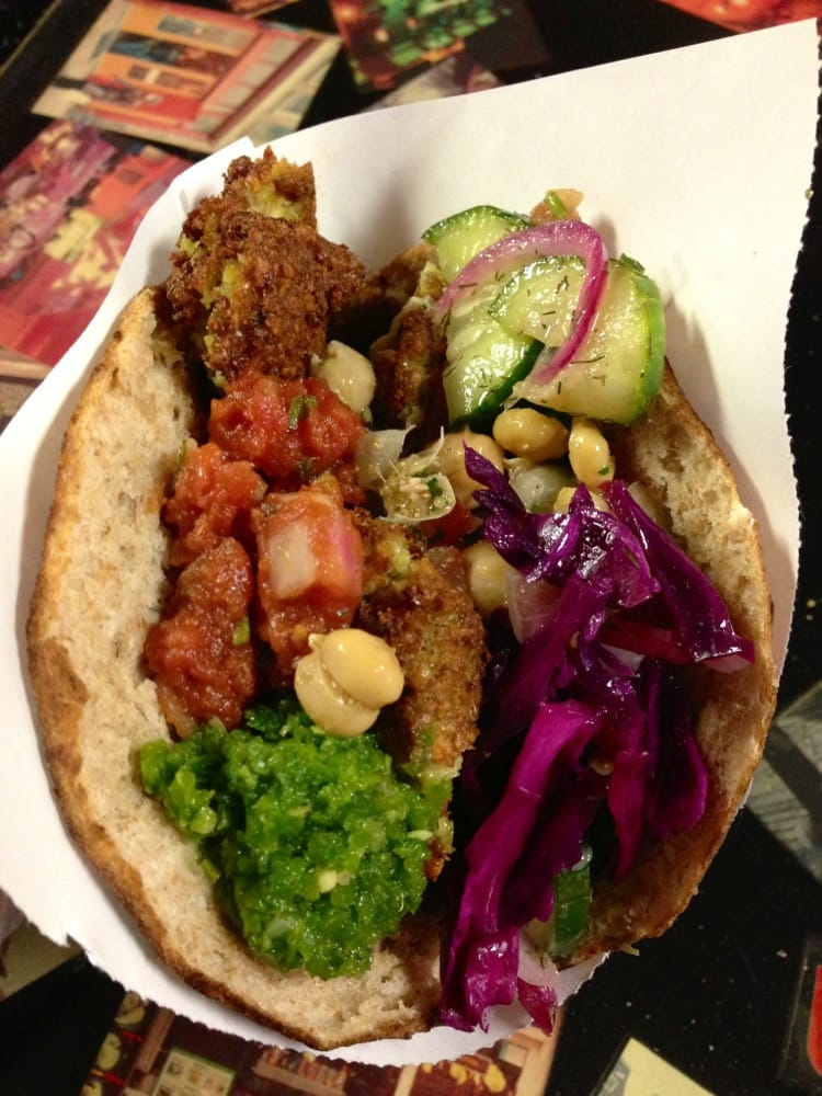 falafel with all the fixings jalape o cilantro red