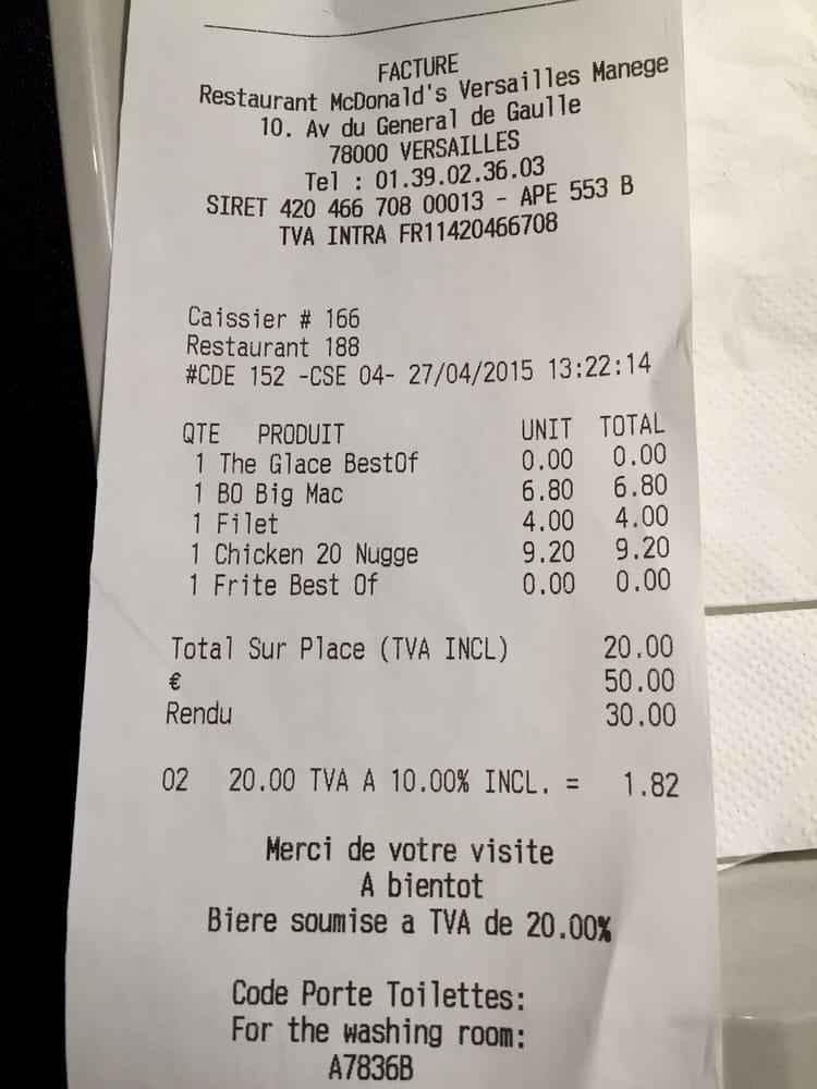 Bathroom code on bottom of the receipt - Yelp