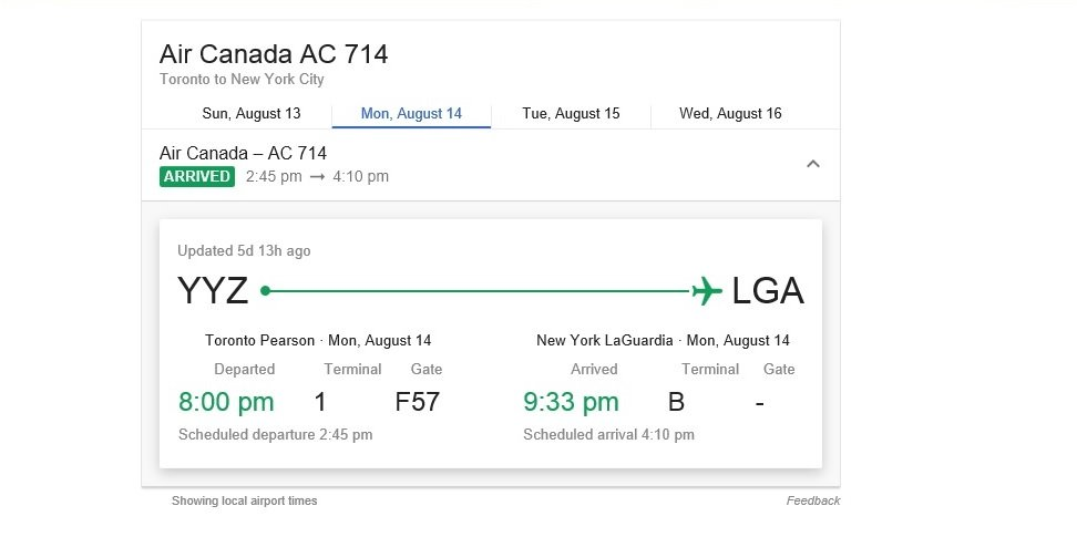 Flight extremely delays from YYZ to LGA on August 14, 2017