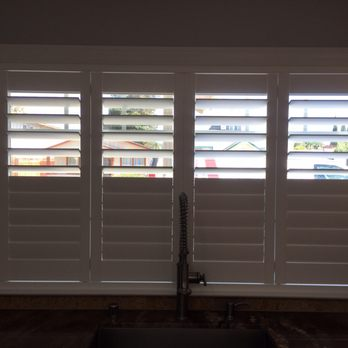 Kitchen window- Shutters with invisible and split tilt. - Yelp