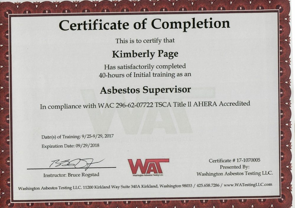 Kimberly Page Asbestos Supervisor Certificate Yelp