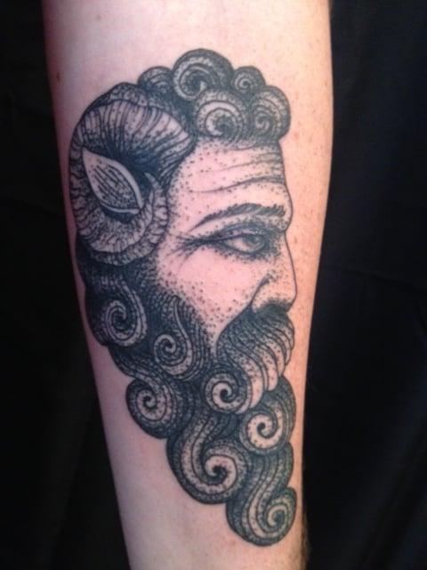 Pointillism dotwork blackwork tattoo miahwaska tattoo for Blackwork tattoo artists