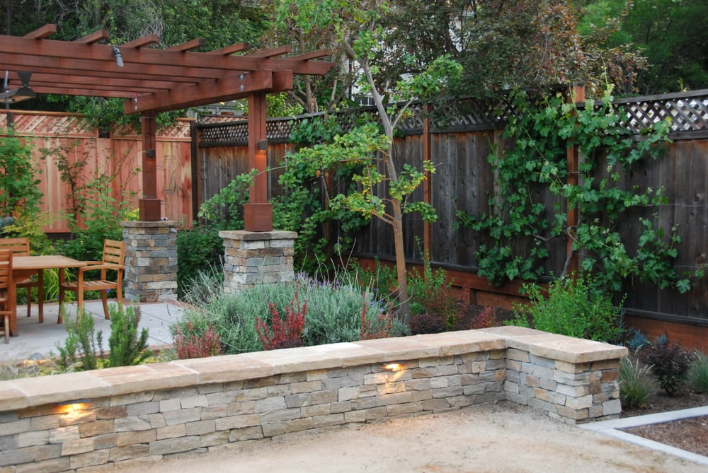 Verdance Landscape Design Of Palo Alto Back Yard Featuring Redwood Dining Pergola With