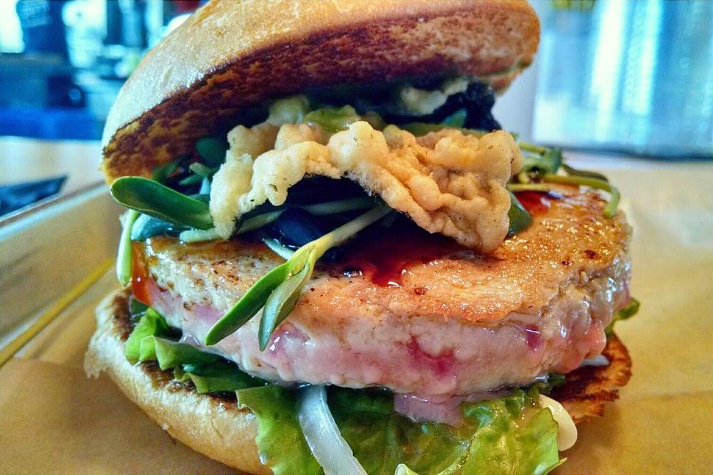 Ahi tuna burger sushi grade tuna sprouts teriyaki for Sushi grade fish near me