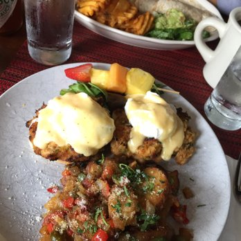 ... , NY, United States. Crab cake Benedict and cheeseburger quesadilla