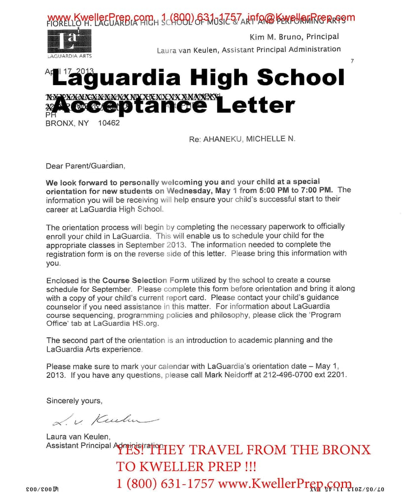 Us Columbine Shares Message For Nearby School After: Specialized High School Entrance Exam Acceptance Letter To