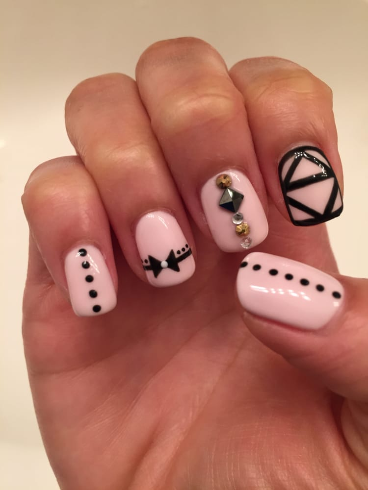 Gel nails with jewels and designs! - Yelp