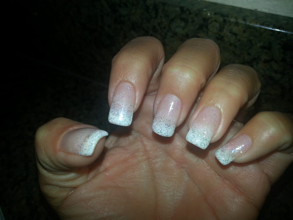 Pink & silver glitter gel over a white French tip - Yelp