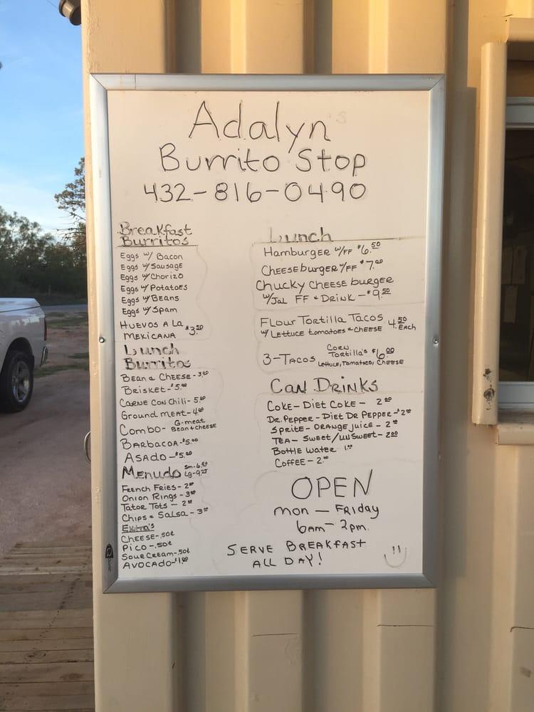 Adalyns Burrito Stop: 3401 Old Colorado City Hwy, Big Spring, TX