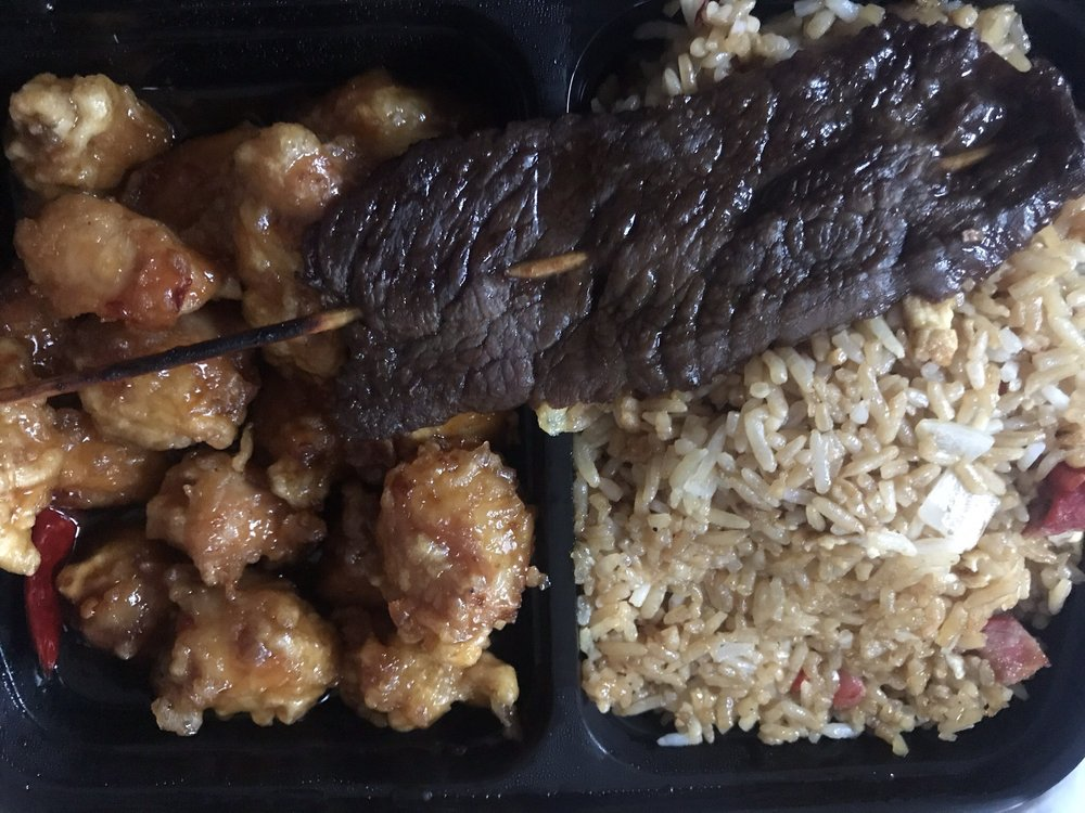 General gau with pork fried rice and beef teriyaki - Yelp
