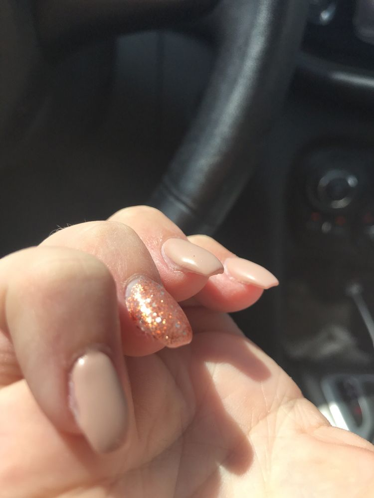 Thick glitter polish and corners of nails never filled - Yelp