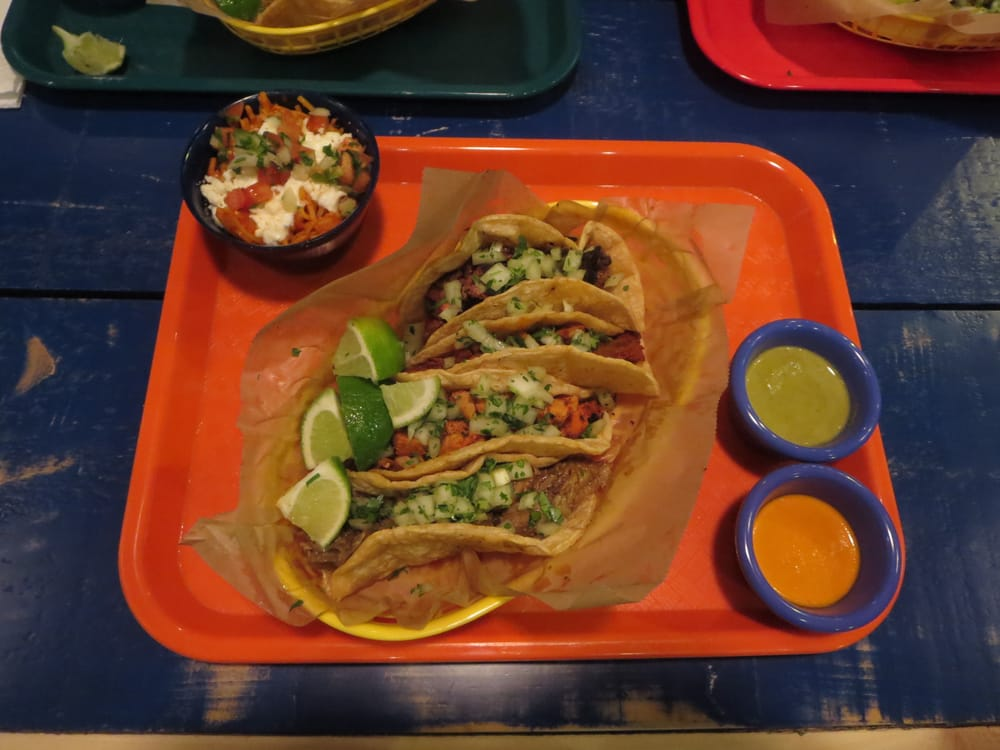 RReal Tacos - Atlanta, GA, United States. Fideos Secos a la Mexicana ($3.50) and four tacos ($2.99 each) with house salsas. See my other pictures for descriptions of each item.
