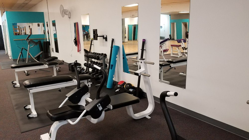 Abs, stretching, free weights and hip flexor machine