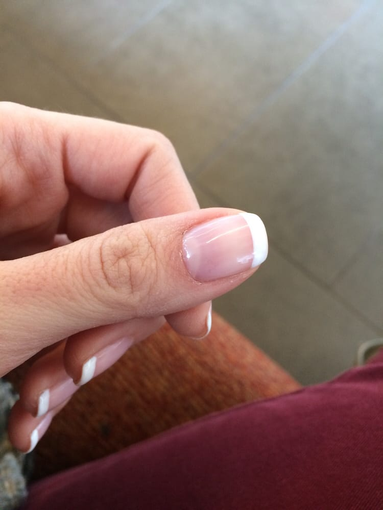 Hair inside my gel nails from the gloves they use I guess... - Yelp