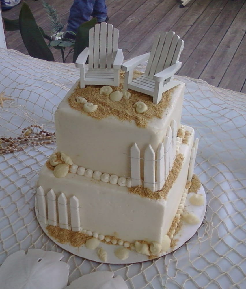 Beach Wedding Cake With Sugar Fencing And White Chocolate