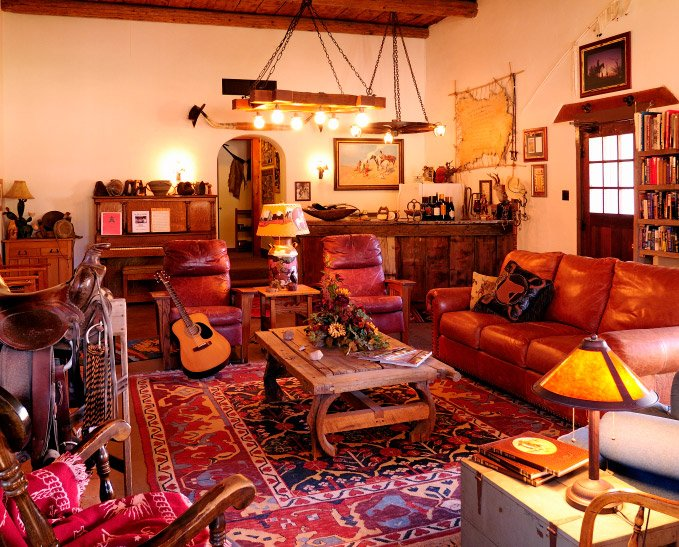 The living room of the main historic lodge