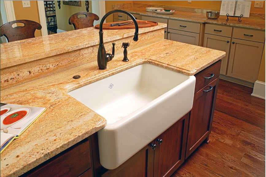 Kashmir Gold Granite With Farm House Sink Yelp