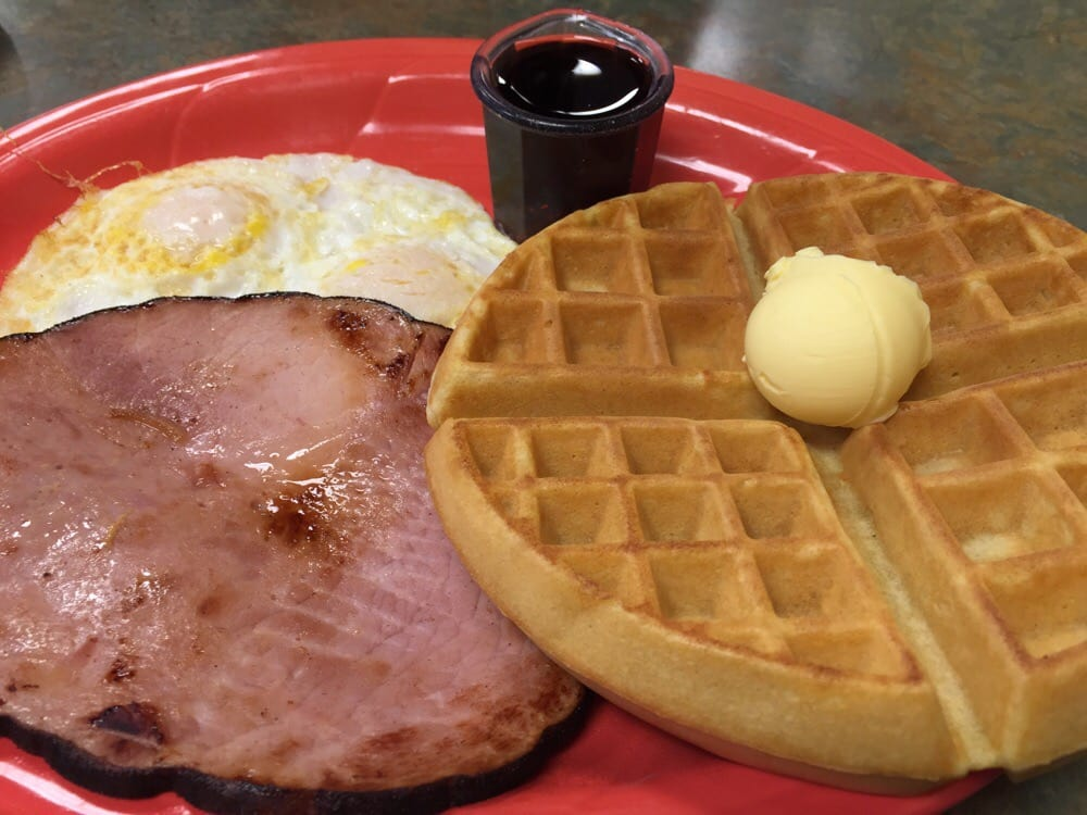 Waffle ham and eggs medium well kitchen table cafe for Kitchen table cafe menu