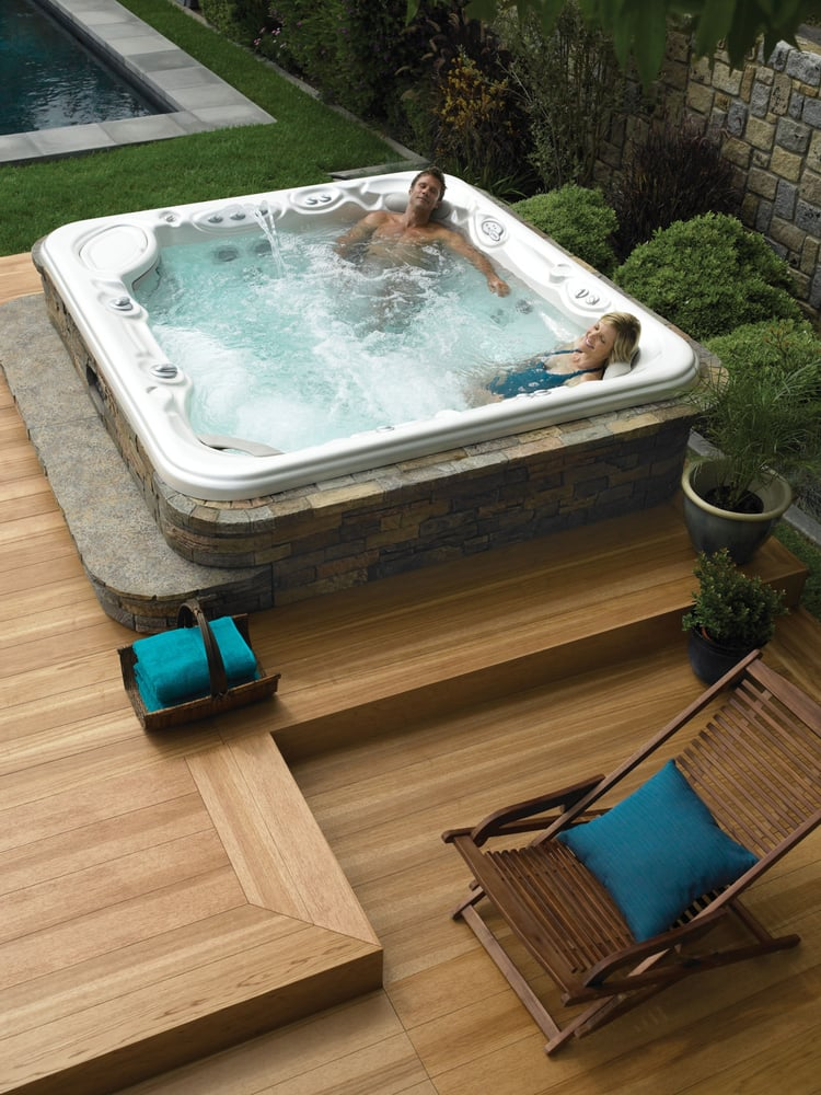 hot spring spa with spastone siding set into a deck yelp. Black Bedroom Furniture Sets. Home Design Ideas