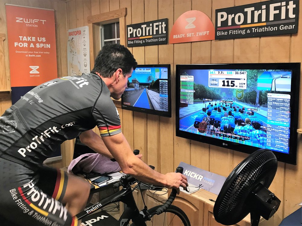 Zwift and Wahoo Kickr demo / experience station - Yelp