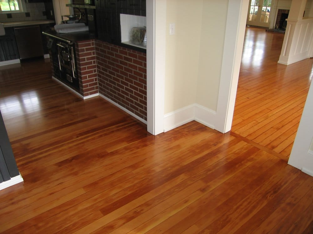 Antique fir floor installed in kitchen original floor is Reclaimed wood flooring portland