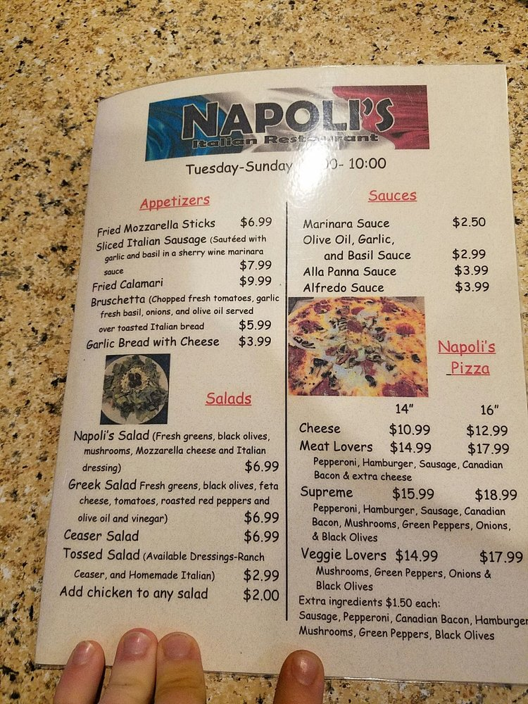 Napoli's Italian Restaurant: 1519 9th Ave SE, Watertown, SD