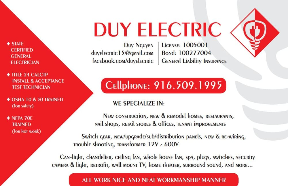 Popular Duy Electric 24 s Electricians Elk Grove CA Phone Number Yelp Amazing - Inspirational contractors state license board In 2019