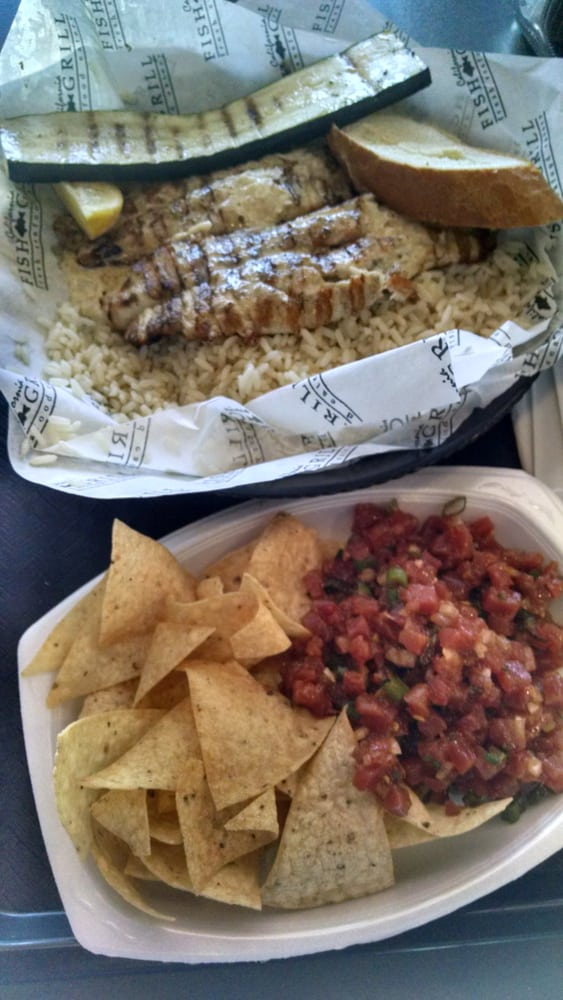 Grilled catfish with garlic butter sauce and ahi poke for California fish grill gardena ca