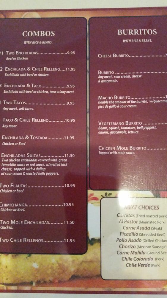 Online Menu Of La Terraza Mexican Grill Restaurant Cambria