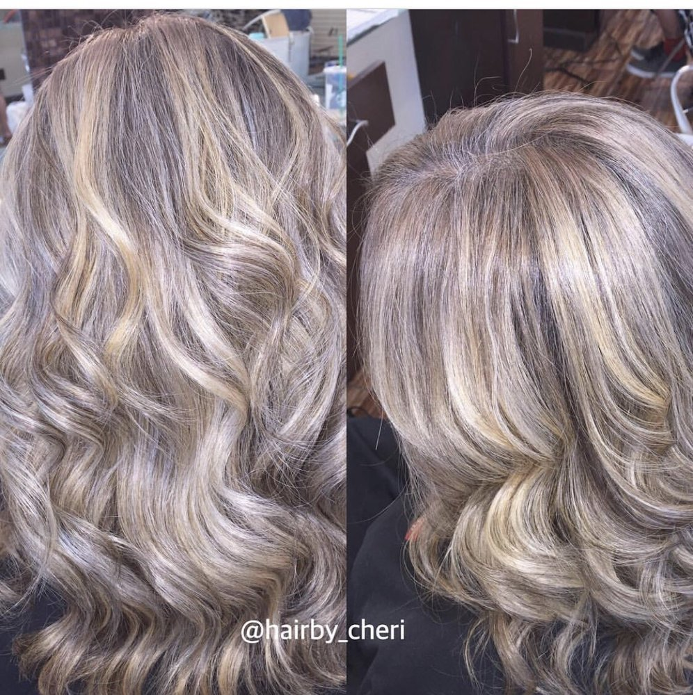 Blended Grey Hair Using Highlights No Color Applied To Roots For