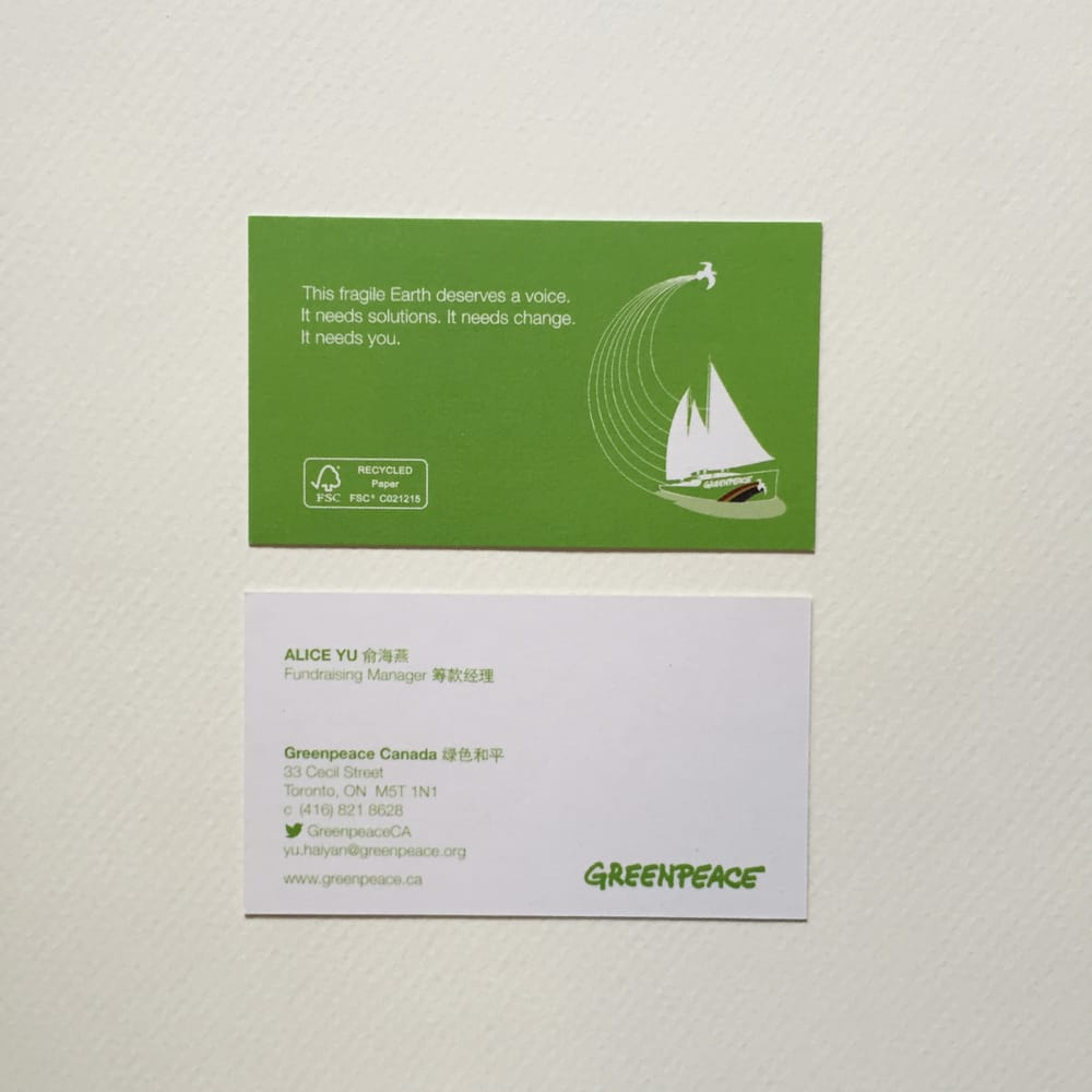 Business cards for greenpeace short run with 2 day turnaround eco photo of print ng toronto on canada business cards for greenpeace reheart Choice Image